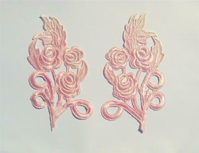 Lovely Pair Of Pale Pink Floral Variegated Applique - SL5