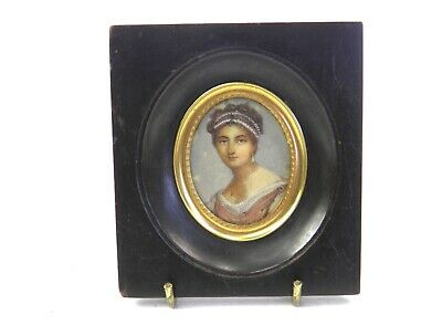 Antique 19th century portrait miniature painting of an Eastern lady