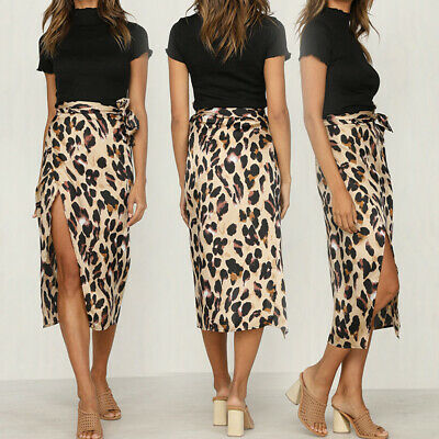Womens High Waisted Leopard Bodycon Ladies Summer Long Maxi Skirt Slit Dresses