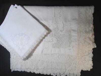 Vintage Linen Tablecloth  W/8 Napkins All Italian Hnd Ndlwrk Filet Lace Inserts