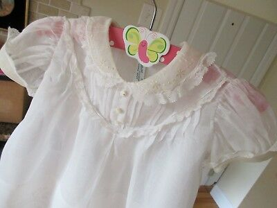 VINTAGE Pemae BABY DRESS HAND MADE WHITE ORGANDY 9 MO. w butterfly hanger