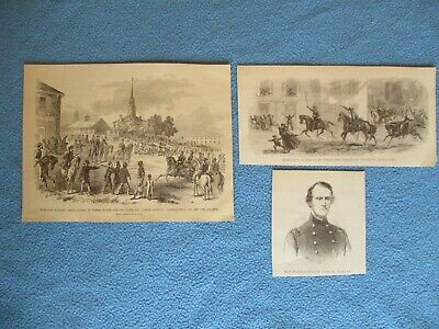 3 1885 Civil War Prints - Morgan's Raiders at Paris & Lebanon, Kentucky