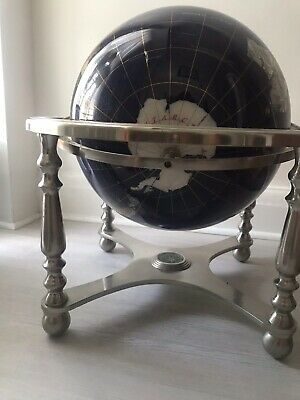 Semi-precious Stone World Globe on Brass Stand with Compass table top
