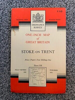Ordnance Survey One Inch Map Seventh Series Sheet 110 Stoke On Trent 1953