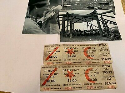 Woodstock 3 Day 1969 Original Tickets Jimi Hendrix Grateful Dead Janis Joplin Mw