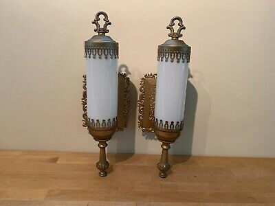 Pair of Vintage Gold Ornate Wall Sconces Electric Light Fixtures w/ Glass Globes