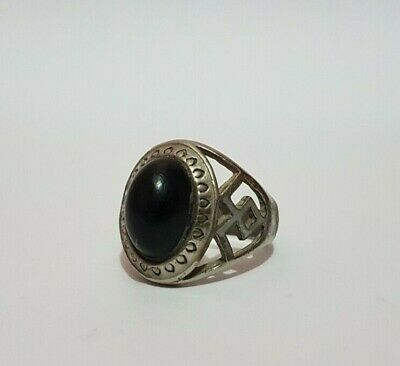 Rare Ancient Viking Ring Metal Stone Black, Ring Antique Authentic Very Stunning