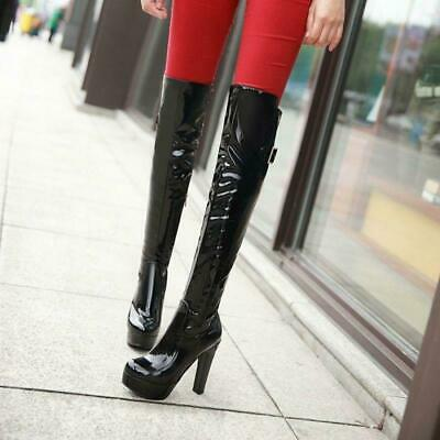 Womens Patent Leather Over Knee High Platform High Heel Boots Sexy Round Toe
