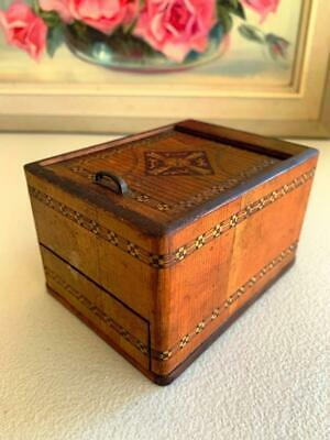 Collectable Vintage Inlayed Jewellery Box Push In Top Bottom Drawer Opens