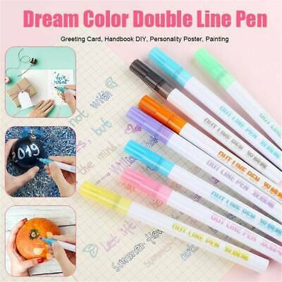 Gift Card Writing Drawing Double Line Outline Pen Portable for School DIY Poster