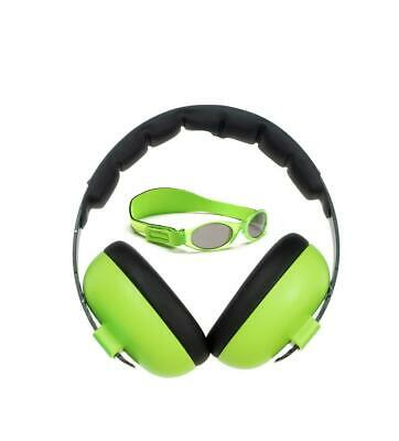 Banz Carewear Protection Set - Baby Sunglasses & Ear Muffs Combo (Lime Green) -