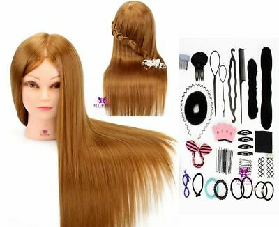 """26"""" 50% Real Human Hair Training Head Cosmetology Hairdressing Mannequin Doll UK"""