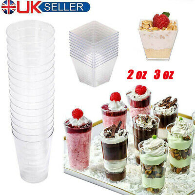 100×Mini Plastic Square Dessert Cups Party Wedding 2oz / 60ml Cube Style Canapes