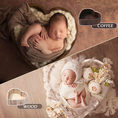 Wooden Heart Photography Prop Cot Baby Photo Props Newborn Photographic Bed