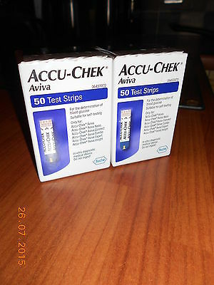 ACCU-CHEK Aviva test strips 2 x boxes [50 per box] **NEW & SEALED**