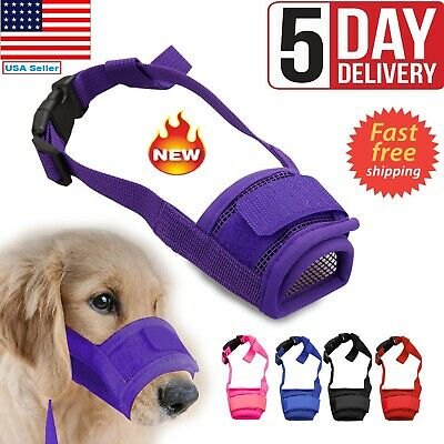 Adjustable Pet Dog Mask Small&Large Mouth Muzzle Grooming Anti Stop Bark Bite