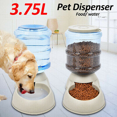 3.75L Grand Pet Automatic Food Drink Dispenser Dog Cat Feeder Water Dish Bowl