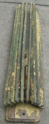 Antique Wooden 10 Spindle Wall Steinfel Drying Rack In Green&Yellow Chippy Paint