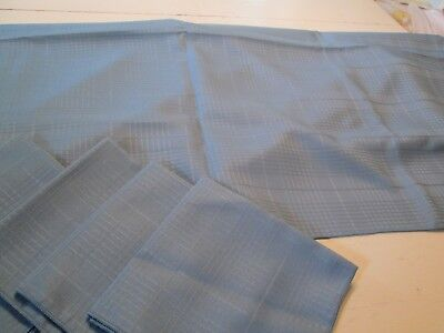 "Woven Lines Blue Cotton Poly Tablecloth Rectangular 4 Napkins Vguc 52"" X 70"""