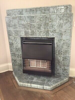 Original 1930s Art Deco Tile Fireplace Suround Mantle Antique