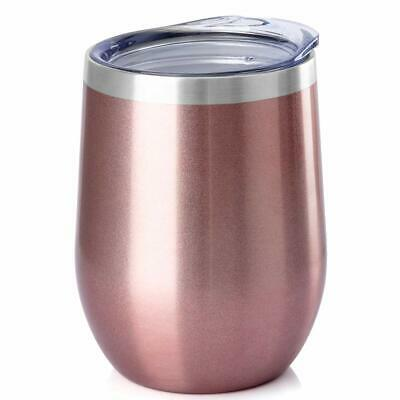 Stainless Steel Stemless Wine Glass Tumbler with Lid, 12 oz | Double Wall Vacuum