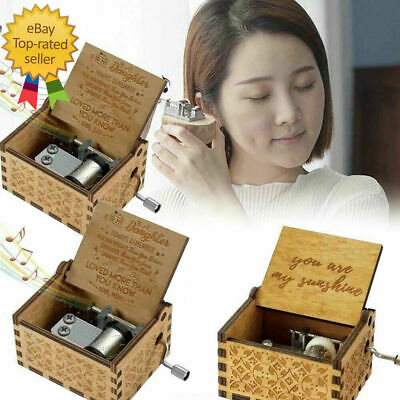 Wooden Music Box Mom/Dad To Daughter -You Are My Sunshine Toy Kid Gift Engr E2N0