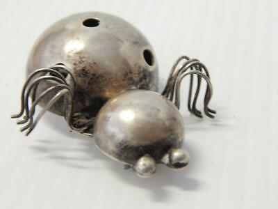 Vintage Antique Mexican Sterling Silver Beetle Insect Bug Pin Taxco Mexico