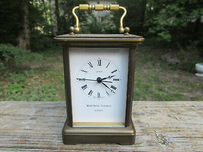 Matthew Norman London Brass Carriage Clock Swiss made Quartz Battery movement
