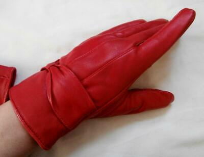 BN Vintage 1990's Soft Red Leather Wrist Gloves with Cosy Lining Sz 7-7 1/2, M-L