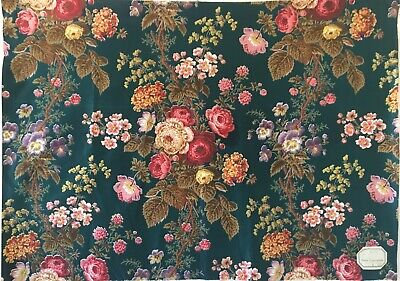 Antique Floral Cotton Fabric ~ Peacock Teal Blue Wine Mustard ~ stunning 1930/'s