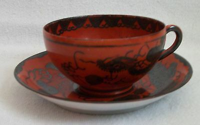 antique japanese Eiraku Kyoto ware cup and saucer 1868-1912