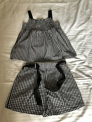 Gorgeous Girls Black Gingham Short Suit/ Outfit Aged 12