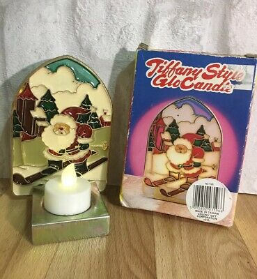Vintage Tiffany Style Glo Christmas Santa Ski Candle Holder Ornament Decoration