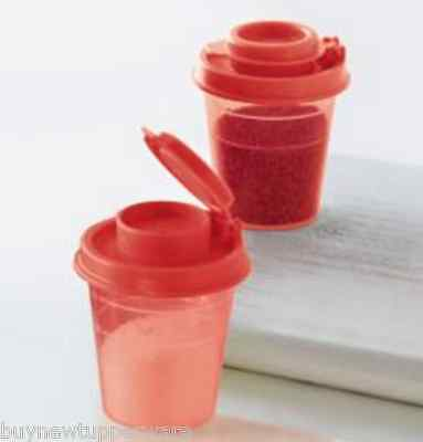 Tupperware S&P Minis 2 oz Midgets Set Salt & Pepper Shakers hot Pepper Red New