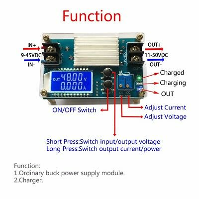 DC-DC 10-50V Step Up Power Supply Adjustable Boost CVCC Converter LCD Display 5A