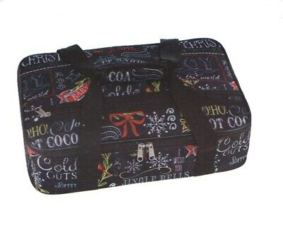 Insulated Casserole Carrying Tote Black Merry Christmas Jingle Bells