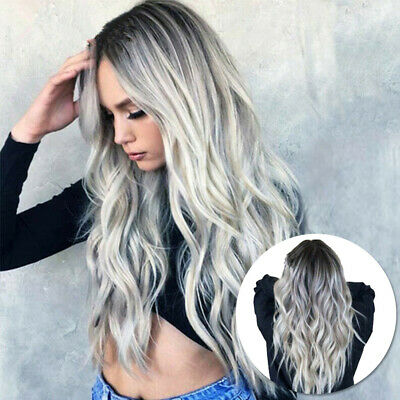 Women's Gradient Grey Long Curly Wavy Hair Heat Resistant Wig Synthetic Durable