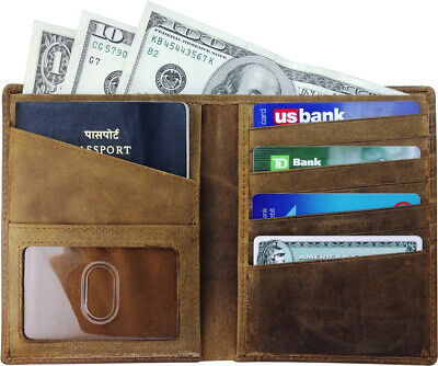 AurDo RFID Blocking Real Leather Passport Holder Cover Case & Travel Wallet