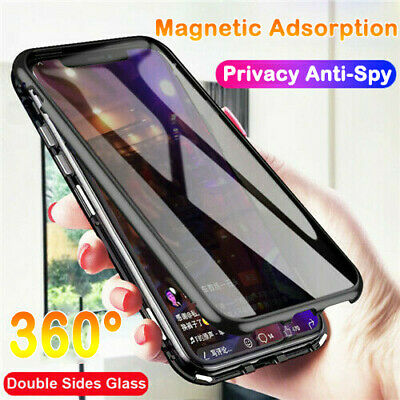 For iPhone XS MAX XR X 8 Full Cover Magnetic Double Glass Anti-Spy Privacy Case
