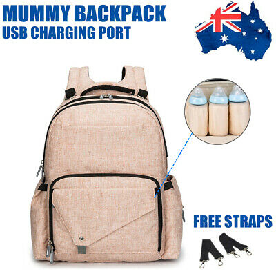 Luxury Multifunctional Nappy Bag Waterproof Diaper Mummy Backpack with USB Port