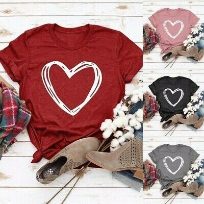 Women Fashion Tops Love Heart Graphic Casual Loose Short Sleeve O Neck T-Shirt