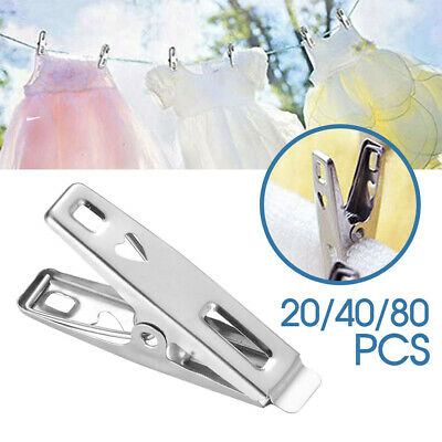 20/40/80Pcs Stainless Steel Clothes Pegs Hanging Pins Clips Laundry Metal Clamps