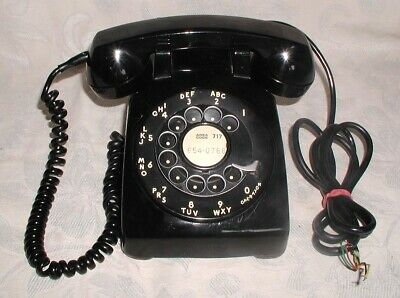 Vtg.BLACK  Bell Western Electric Rotary Dial Desk Phone C/D500:WORKS:Hard Wire