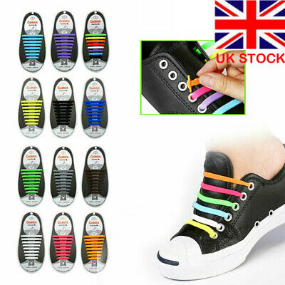 Silicone Easy No Tie Shoe Laces ShoeLaces For Kids Adults Trainers Canvas Shoes