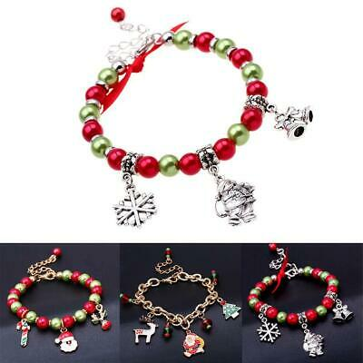 Women Girls Christmas Santa Claus Elf Beads Bangle Bracelet Jewelry Gifts