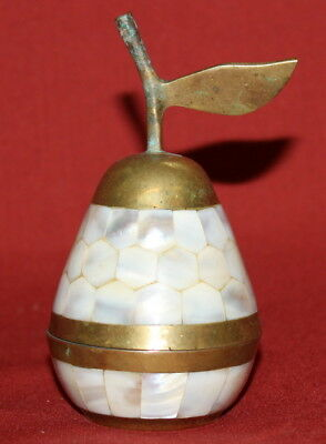 Antique Handcrafted Solid Brass/Mother Of Pearl Pear Shape Box