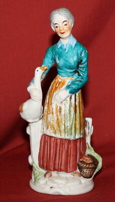 Antique European Hand Painted Bisque Porcelain Figurine Woman And Goose