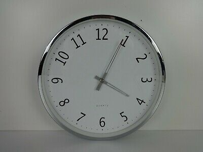 Wall Clock Quartz Silver & White Round Battery Operated Minimalist House & Home