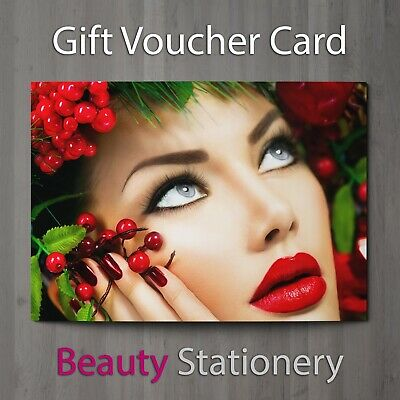 Christmas Gift Voucher Blank Beauty Salon Card Coupon Massage Nail A7 + Envelope