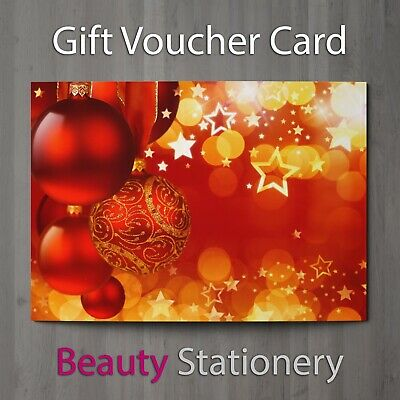 Christmas Gift Voucher Blank Beauty Card Salon Coupon Massage Nail Spa A7 + Env.